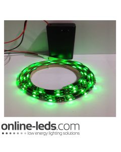 9V Battery Operated 500mm Waterproof Led Strip Green SMD3528