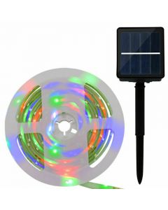 Solar Powered Colour Changing Flag Pole Led Light Strip 3M 180 LED Waterproof